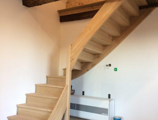escalier 1/4 tournant balancé chene